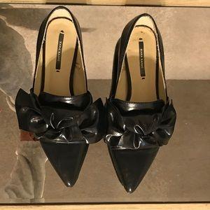 Zara bow loafer flats